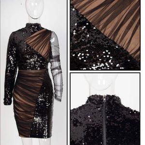 Black Stand-Up Mesh Stitching Sequin Dress